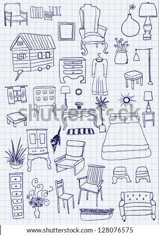 Vector doodle furniture