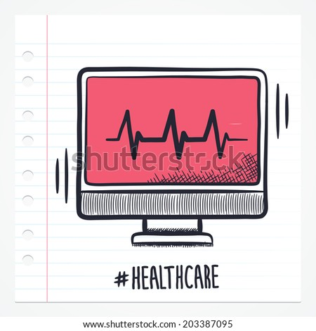 Vector doodle heart beat monitor icon illustration with color, drawn on lined note paper.  - stock vector