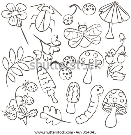 Vector doodle icon set with mushroom, warm, bug, strawberry and leaf. Nature collection of childish characters and plants.