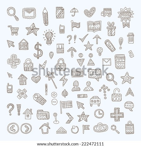 Vector Doodle Icons Set - stock vector