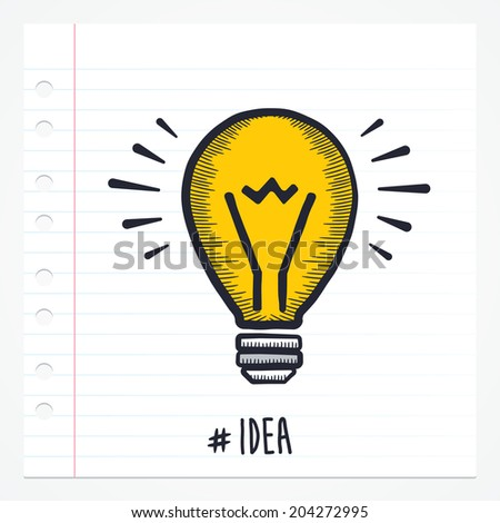Vector doodle idea icon illustration with color, drawn on lined note paper. - stock vector