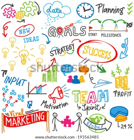 Vector doodle illustration: Colorful business related words and scribbles. - stock vector