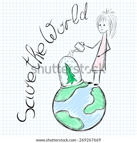 """vector doodle illustration with label """"save the world"""" - stock vector"""