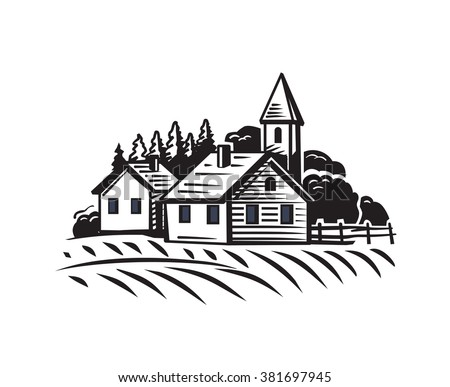 vector doodle image of village and landscape - stock vector