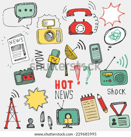 Vector doodle  journalism icons collection. Set of hand drawn symbols with tv,camera, speech bubble, telephone,dictaphone, radio - stock vector