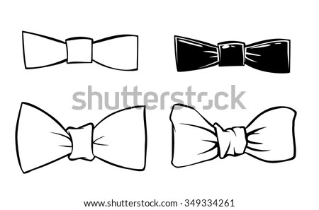 Vector doodle men's bows isolated - stock vector