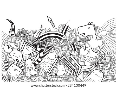 vector doodle monsters hand drawn - stock vector
