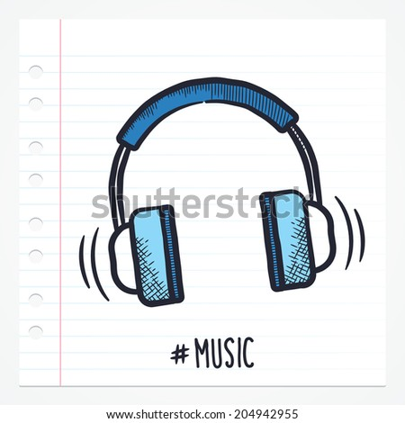 Vector doodle music icon illustration with color, drawn on lined note paper. - stock vector