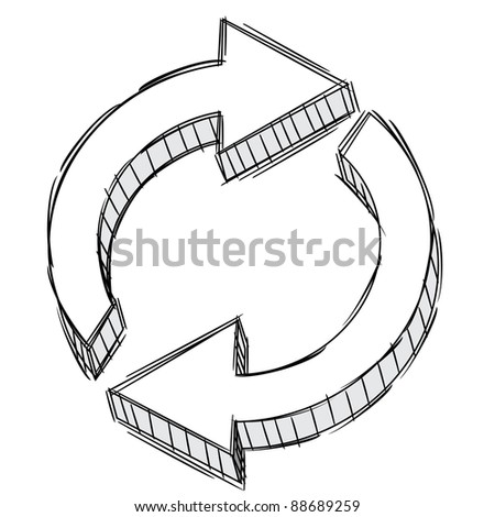 Vector Doodle of a recycle sign - stock vector