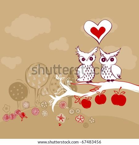vector doodle owls in love - stock vector