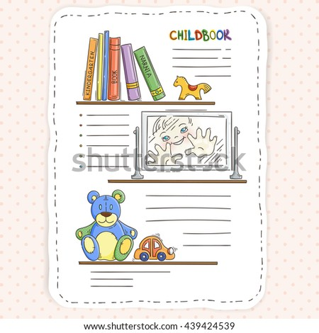 Vector doodle page for kids and children. Bookshelf and toys. Child magazine.