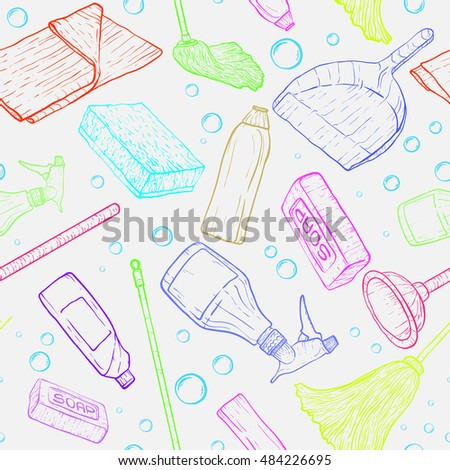 Vector doodle pattern of cleaning tools. Cleaning service. Cleaning supplies.
