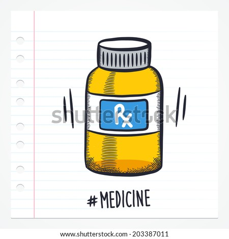 Vector doodle pill bottle icon illustration with color, drawn on lined note paper.  - stock vector
