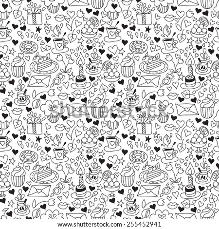 Vector doodle seamless pattern with sweets. Happy birthday background with gift, coffee and cupcakes. Black and white background. EPS8 - stock vector