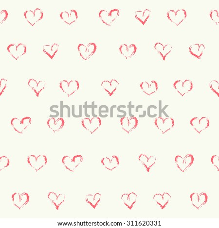 Vector doodle seamless patterns. Romance and love background design. Naive style illustration. Grungy hearts in rows. Valentine card or wedding invitation design. - stock vector