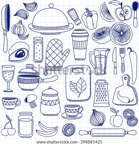 Vector doodle set of kitchenware items