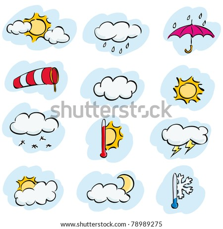 Vector doodle set of weather and climate forecast icons - stock vector