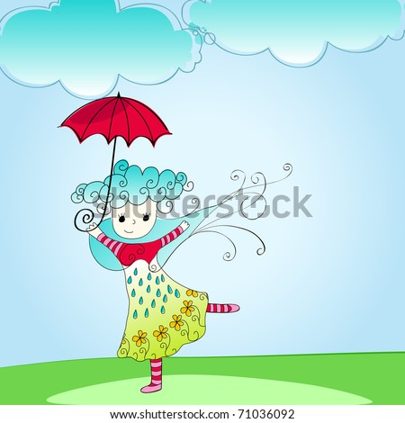 Vector doodle style illustration of cute spring girl with umbrella - stock vector