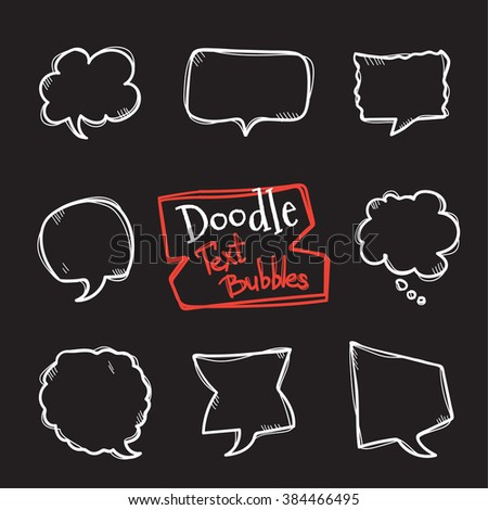 Vector doodle style text bubbles set. Cute hand drawn collection of chat clouds