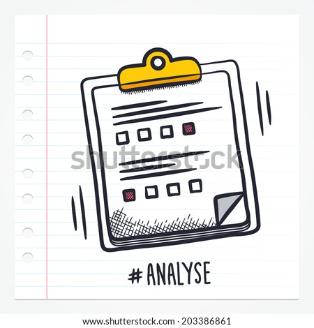 Vector doodle test on clipboard icon illustration with color, drawn on lined note paper.  - stock vector