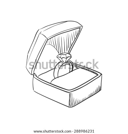 Vector doodle wedding ring with diamond icon, hand drawn style - stock vector