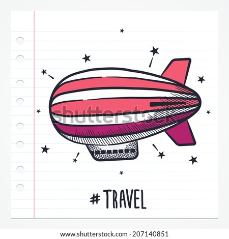 Vector doodle zeppelin icon illustration with color, drawn on lined note paper. - stock vector