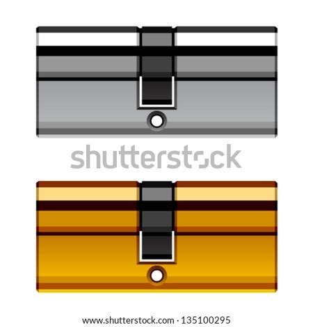 vector door lock cylinder cartridge - stock vector