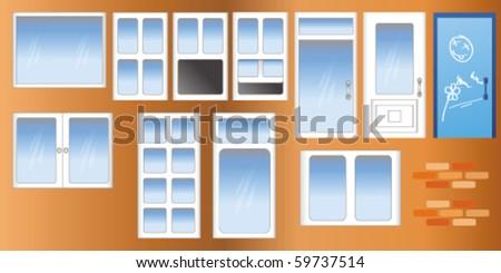 vector doors and windows - stock vector