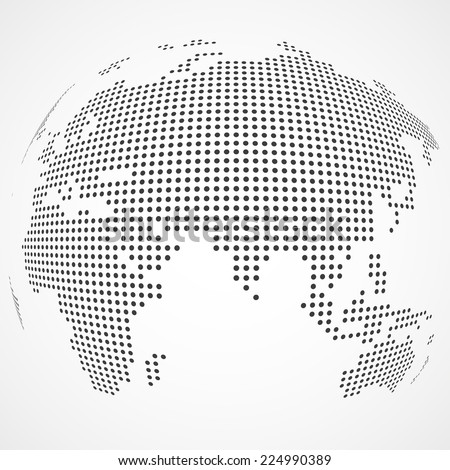 Vector dotted earth map - stock vector