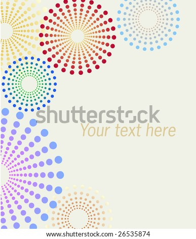 Vector dotted flowers background on white background - stock vector