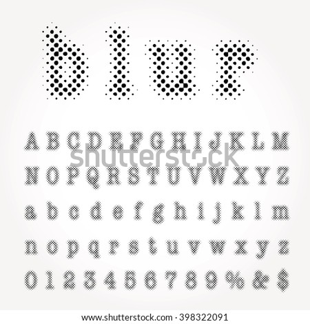 vector dotted halftone alphabet