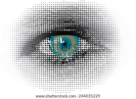 vector dotted halftone raster blue eye - stock vector