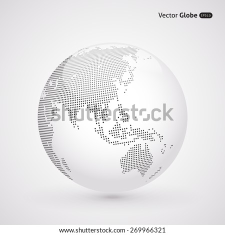Vector dotted light globe, views over East Asia - stock vector