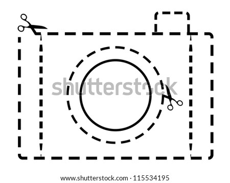Vector Dotted Line Isolated Retro Vintage Style Photo Camera