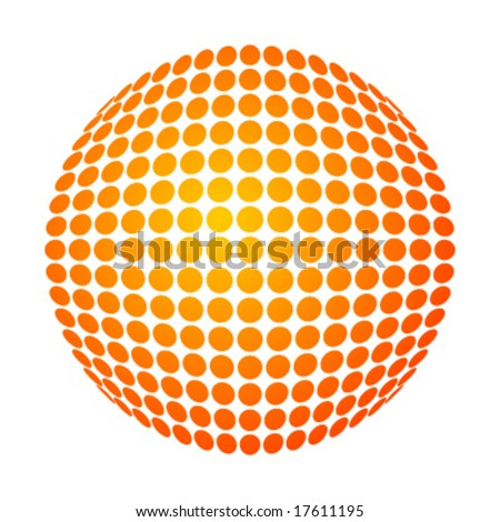 vector dotted sun with yellow-orange gradient - stock vector