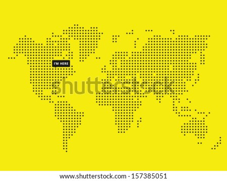 Vector Dotted World Map with tooltip - stock vector