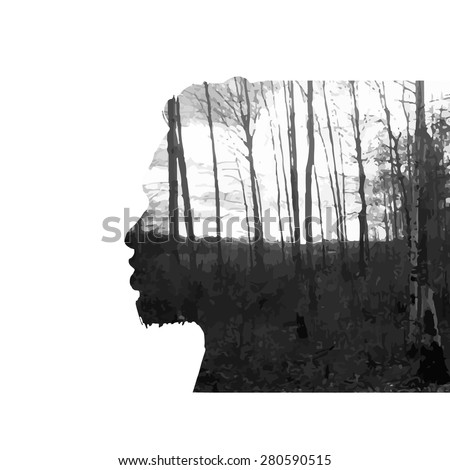Vector double exposure illustration. Man silhouette plus abstract nature background.Black and white double exposure portrait of young man combined with photograph of nature. Vector illustration. - stock vector