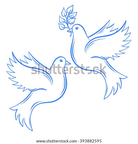 vector doves hand drawn dove of peace illustration and dove with olive branch hand
