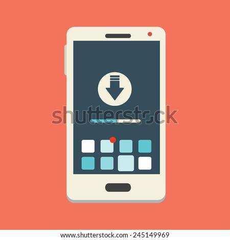 Vector Download Smartphone Icon  - stock vector