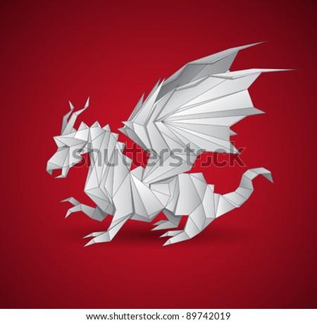vector dragon origami - stock vector
