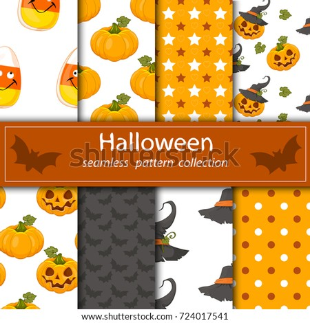 Vector drain seamless fabric Halloween orange purple skull sweets bones. The joy of children and adults.