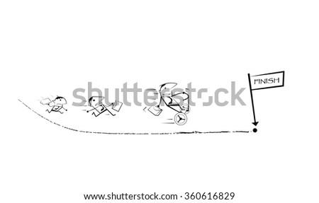 Vector draw doodle cartoon. Businessman competition, Running Races to finish line. Businessman winning a race is ride two wheel electric vehicles. Business competition, success concept. - stock vector