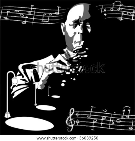 vector draw of a jazz man with notes flying around - stock vector