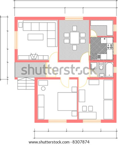 Vector Draw Home Plan Color All Stock Vector Shutterstock