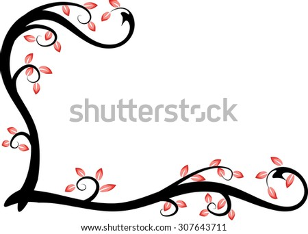 vector drawing beautiful leaf with black plant background