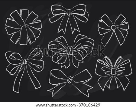 Vector drawing bows and ribbons. big set. pencil sketch  - stock vector