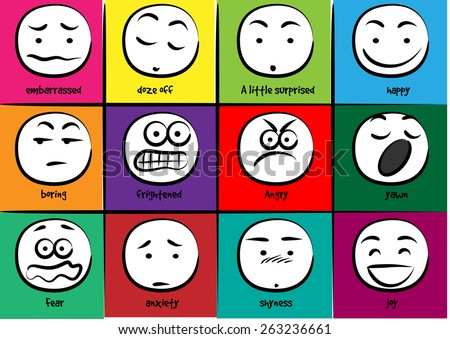 vector drawing cartoon Different expressions