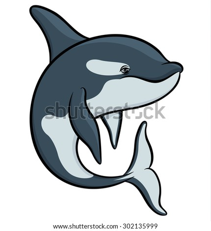 Vector drawing - colorful art orca - stock vector