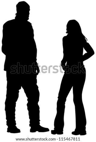 Vector drawing couple people on street - stock vector
