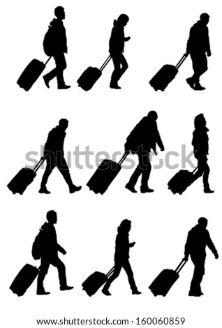 Vector drawing crowds of people whit travel suitcases - stock vector